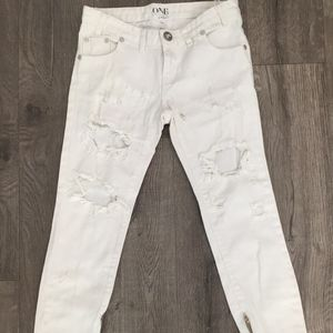 One Teaspoon Freebirds Distressed White Jeans